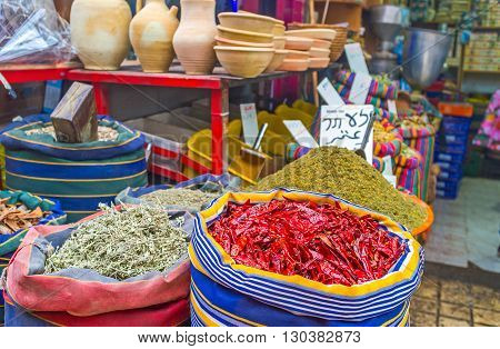 The spice stall in Turkish Bazaar offers traditional spices and herbs Akko Israel.