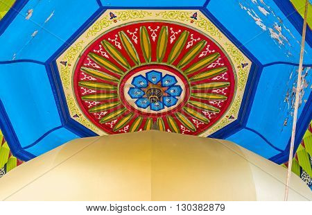 ACRE ISRAEL - FEBRUARY 20 2016: The wooden ceiling of sabil in Al-Jazzar mosque covered with the painted islamic patterns on February 20 in Acre.
