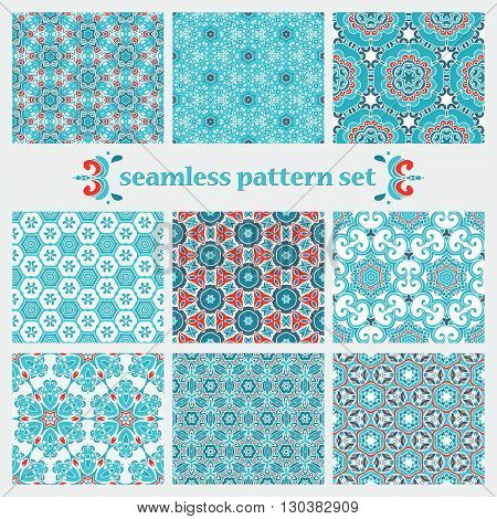set of winter ornamentall designs. christmas gift wrap. abstract geometric pattern
