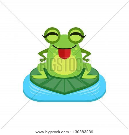 Silly Cartoon Frog Character Flat Bright Color Vector Sticker Isolated On White Background In Simple Childish Style