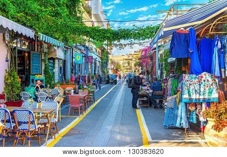 TEL AVIV ISRAEL - FEBRUARY 25 2016: The best way to relax after the long walk in the flea market of old Jaffa is to visit the local cafe on February 25 in Tel Aviv.