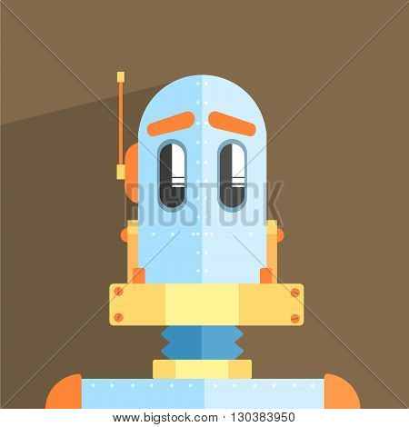 Simpleton Robot Character Portrait Icon In Weird Graphic Flat Vector Style On Bright Color Background