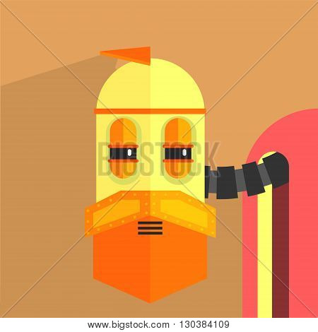 Wile Old Robot Character Portrait Icon In Weird Graphic Flat Vector Style On Bright Color Background