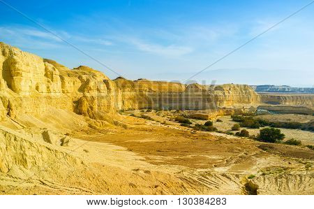 The scenic yellow canyon in Negev desert Israel.