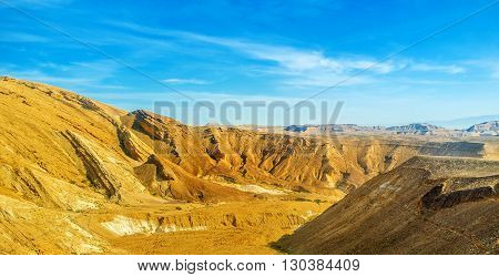 The bright yellow rocks of the Negev desert Israel.