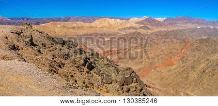 The colorful desert located next to Eilat resort in the same named mountains Israel.