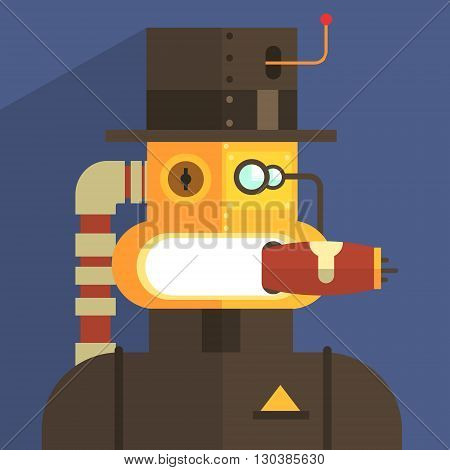 Magnate Robot Character Portrait Icon In Weird Graphic Flat Vector Style On Bright Color Background