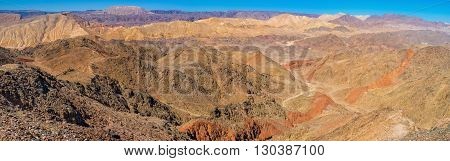 The rocky desert is one of the most colorful places in dry southern district Eilat Israel.