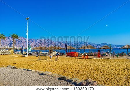 EILAT ISRAEL - FEBRUARY 23 2016: The beaches of Eilat equipped by sport zones for different beach games on February 23 in Eilat.