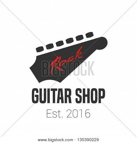 Guitar store vector template logo. Music shop sign. Fingerboard illusration