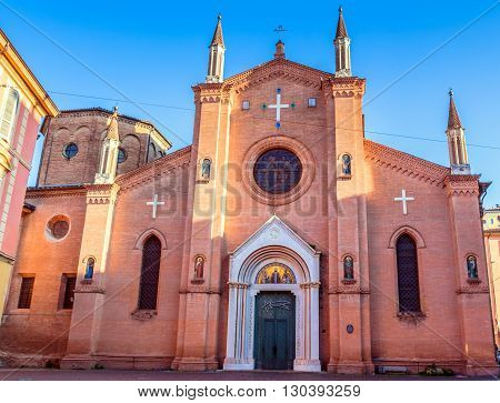 Bologna, Italy - December 27, 2015: day view of San Martino church facade in Bologna Italy. Since the XIII century this church has hosted the Bolognese community of the Carmelites