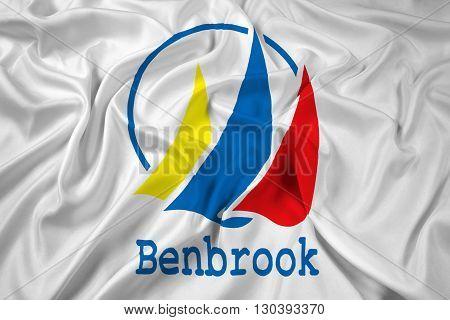 Waving Flag of Benbrook Texas, with beautiful satin background
