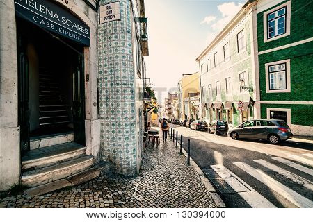 Lisbon Portugal - January 18: Beautiful Lisbon street with typical old town view on January 18 2016 in Lisbon