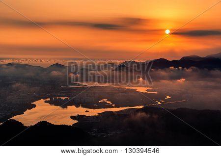 Barra da Tijuca Aerial view by Sunset in Rio de Janeiro, Brazil