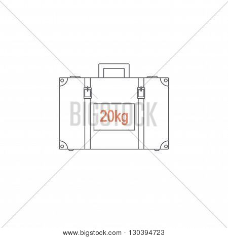 Limiting weight of luggage at the airport. baggage weight does not exceed twenty kilograms. Suitcase depicted in the style of the line. Vector illustration.