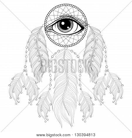 Hand drawn zentangle bohemian Dreamcatcher with Eye, Native American Indian talisman for adult coloring pages, post card, t-shirt, Boho style. Isolated illustration in doodle, henna tattoo design.