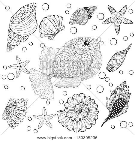 Hand drawn zentangle Fish with sea shells for adult anti stress coloring pages, post card, mehendi t-shirt print,  logo icon. Isolated sea animal illustration in doodle, boho style, henna tattoo design.