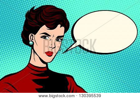 Strict beautiful retro woman pop art retro vector. Serious girl close-up