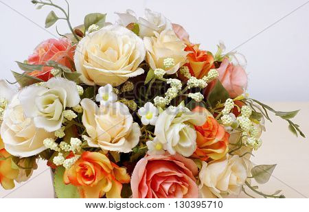 Beautyful artificial flowers with copyspace in composition.