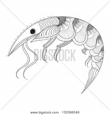 Hand drawn zentangle Shrimp for adult anti stress coloring pages, monochrome  post card, mehendi t-shirt print,  logo icon. Sea animal illustration in doodle, boho style, henna tattoo design.