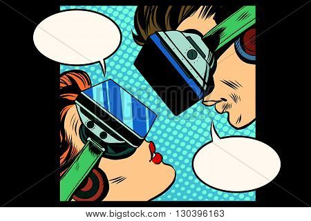 Virtual love man woman glasses virtual reality pop art retro vector. Couple love. Virtual acquaintance. The Internet acquaintance. Science fiction romance