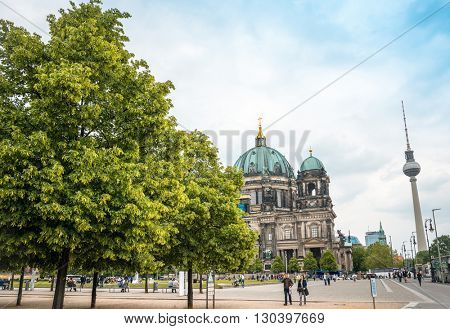 BERLIN, GERMANY- May 18: Tv tower or Fersehturm in Berlin on May 18, 2016. BERLIN, Germany.