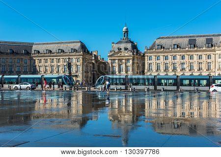 Mirror Fountain In Bordeaux, France