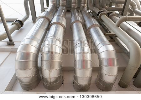 Pipeline of air conditioning system on wall.