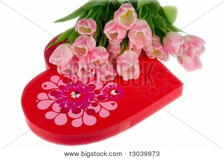 Tulips And Heart Shaped Box Of Sweets