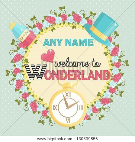 Lovely personal invitation for themed wonderland party. Customize template by adding name and time. Decorated with border of painted roses hat and magic potion.