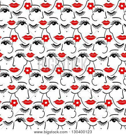 Face silhouette seamless pattern. Stylish trend design for surface