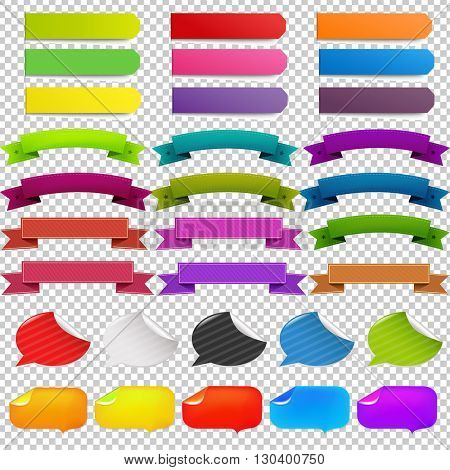 Big Set Web Ribbons, Isolated on Transparent Background, With Gradient Mesh, Vector Illustration