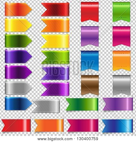 Web Ribbon Big Set, Isolated on Transparent Background, Vector Illustration