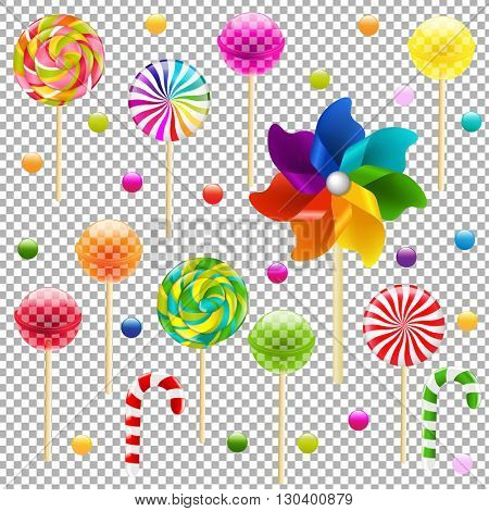 Lollypop Set With Pinwheel, Isolated on Transparent Background, With Gradient Mesh, Vector Illustration
