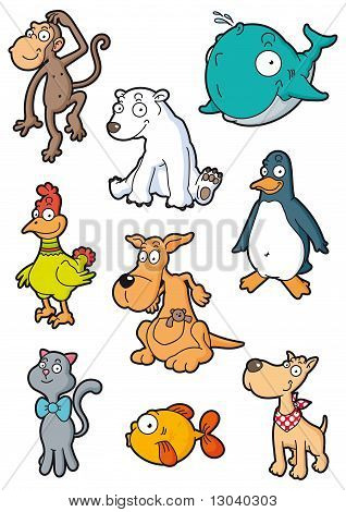 Collection of nine stylized animals