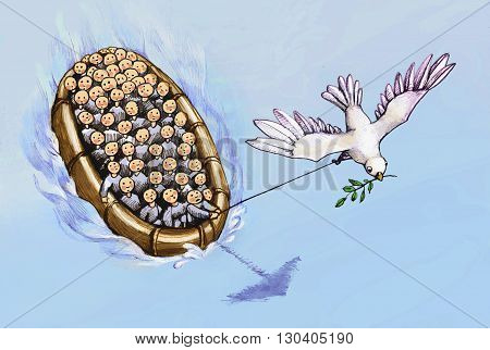 refugees on a boat driven by the dove of peace
