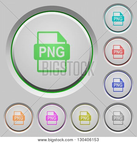 Set of color PNG file format sunk push buttons.