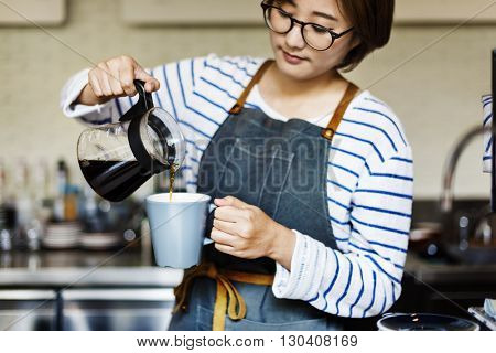 Pouring Coffee Barista Cafe Waitress Attractive Concept