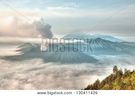 Mt. Bromo volcano during sunrise the magnificent view of Mt. Bromo located in Bromo Tengger Semeru National Park East Java Indonesia.