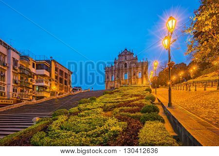Ruins Of St. Paul's In Macau At Night