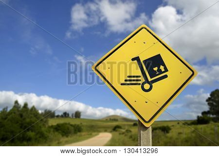 Shipping Concept Delivery Box Cart On Road Sign