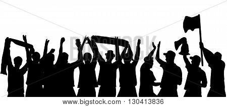 Black silhouette of cheering football fans with copy space