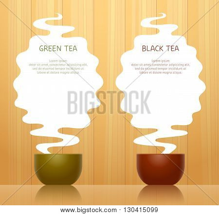 Cup for green tea and cup for black tea steam above them with place for texts on background with wooden pattern