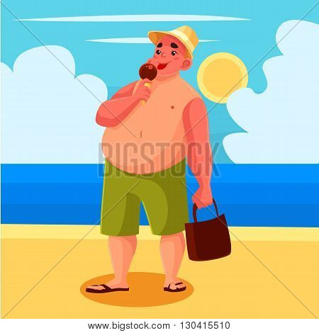 Fat man eating ice cream on the beach, vector cartoon comic illustration, one man has a sweet ice cream on the beach on holiday, a sunny beach with the sea and the fat man on vacation