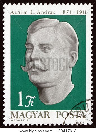 HUNGARY - CIRCA 1971: a stamp printed in Hungary shows Andras L. Achim Peasant Leader circa 1971