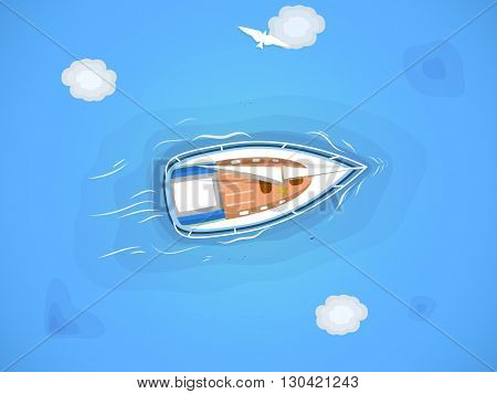 Yacht in the sea. Top view through the clouds on a white yacht sailing floating on the waves of the sea. Vector illustration