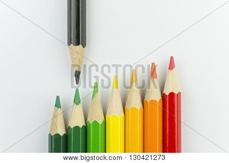 Conceptual crayons represented as successor energy label colors with black pencil that indicates the energy label