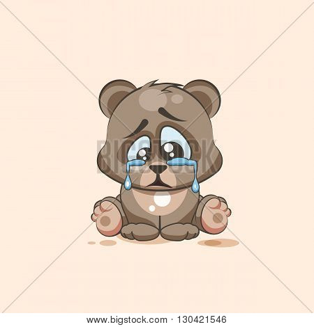 Vector Stock Illustration isolated Emoji character cartoon sad and frustrated Bear crying, tears sticker emoticon for site, info graphic, video, animation, websites, e-mails, newsletters, report, comic