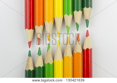 Conceptual crayons represented as successor double energy label colors