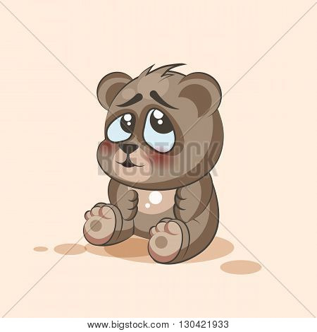 Vector Stock Illustration isolated Emoji character cartoon Bear embarrassed, shy and blushes sticker emoticon for site, info graphic, video, animation, websites, e-mails, newsletters, reports, comics